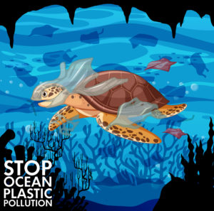 Poster design with sea turtle and plastic bags in ocean illustration